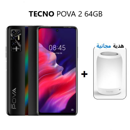POVA 2 64GB + 4GB - اسود لامع  - 4 GB + 64 GB